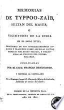 Memorias de Typpoo-Zaïb, sultan del Masur, ó Vicisitudes de la India en el siglo XVIII